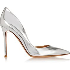 Gianvito Rossi Metallic leather pumps (€645) ❤ liked on Polyvore featuring shoes, pumps, heels, обувь, silver, slip on shoes, metallic pointed toe pumps, pointy toe high heel pumps, party shoes and metallic shoes