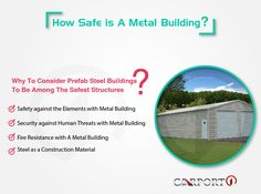 A metal buildings are the safest structures for your vehicles and belongings.Read how prefab steel buildings provide safety and security for your valuables. Metal Storage Buildings, Wooden Buildings, Steel Buildings, Metal Carports, Metal Garages, Metal Building Kits, Wooden Barn, Strong Wind, Construction Materials