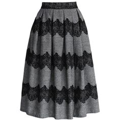 Black lace stripes trimming ; Subtle pleats from waist ; Concealed side zip closure ; Lined ; 30% Cotton, 70% Polyester ; Machine washable.