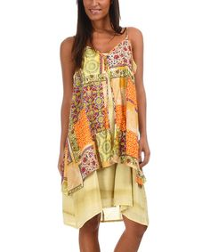 Look at this Yellow & Orange Patchwork Sleeveless Dress on #zulily today!