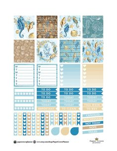 HORIZONTAL Printable Planner Stickers for use with Erin seahorses / blue underwater theme includes weekly planners, checklists, to do lists, banners