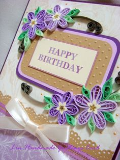Lin Handmade Greetings Card with beautiful quilling designs