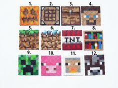 Minecraft Perler Characters & Blocks - Set of 8 via Etsy