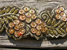 silver pink gold  wide beaded trim sequins  pink by pinksewingroom, $22.00