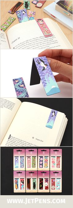 The lovely Kurochiku Magnetic Bookmarks feature a traditional Japanese pattern and a magnetic strip to securely mark your page!