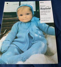 Baby Pram Set Hayfield vintage knitting pattern 4 ply yarn #Hayfield