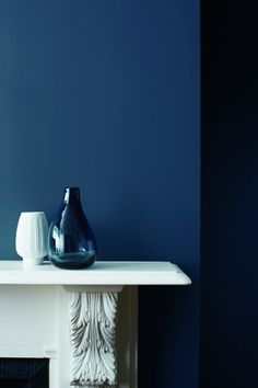interior details - mantlepiece - zoffany blue velvet