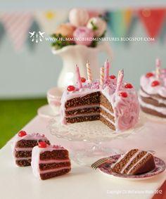 Cherry Birthday Cake by Hummingbird Miniatures