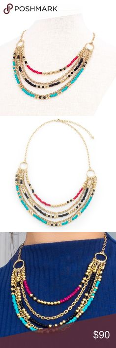 Colorful statement necklace Handmade in Guadalajara MX 4 coats 18K Gold High quality jewelry Will not tarnish Save 30% when you buy a bundle Jewelry Necklaces