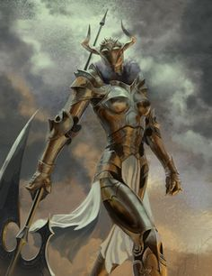 Tall warrior in full plate and long axe. Bullhorne Knight final by CheshirePlaynWthFire Fantasy Character Design, Character Design Inspiration, Character Art, Medieval Fantasy, Dark Fantasy, Fantasy Art, Female Armor, Female Knight, Fantasy Warrior