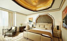 High-end hotel: Inside the presidential suite boasts three bedrooms - as well as a fully e...