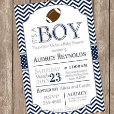 Cowboys Inspired Football Baby Shower Invitation Football baby