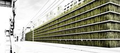 Cheungvogl proposes a grass-walled two story parking garage with a green roof public park for space limited Tokyo. Parking Building, Building Facade, Parking Lot, Green Building, Car Parking, Urban Park, Public Garden, Exhibition Space, Concrete Jungle