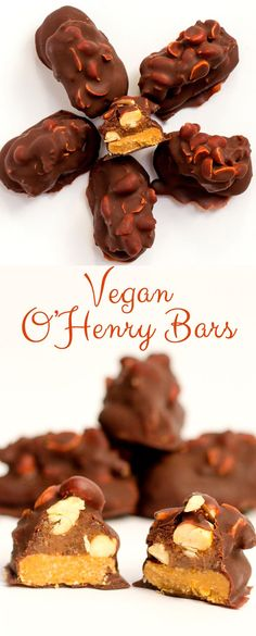 Vegan O'Henry bars, made with date caramel, peanut butter, cashews and homemade chocolate. A guilt free dessert . Vegan Dessert Recipes, Delicious Vegan Recipes, Candy Recipes, Dairy Free Recipes, Delicious Desserts, Bar Recipes, Gluten Free, Chocolate Bar Recipe, Homemade Chocolate