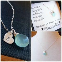 Bridesmaid gifts Initial & birthstone necklace by BriguysGirls, $37.00