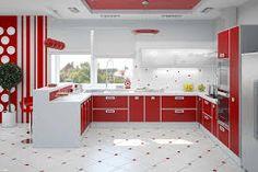 Beautiful Red Kitchen Wall Decor Kitchen Design Wall Colors Modern Kitchen Gray Kitchen Color pertaining to [keyword Modern Kitchen Paint, Red Kitchen Walls, White Kitchen Decor, Kitchen Decor Themes, Modern Kitchen Design, Kitchen Ideas, Black And Red Kitchen, Black Kitchens, Kitchen Yellow