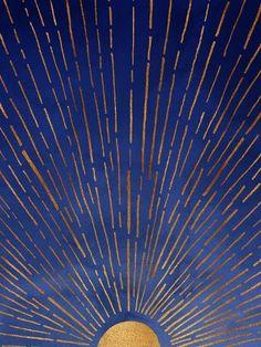 Indigo Blue & Metallic Gold Sunrise / Sunset Poster ~ designed by Modern Tropica. - By Modern Tropical Studios Gold Palette, Palette Bed, Modern Tropical, Tropical Art, Poster S, Wow Art, Framed Art Prints, Vintage Art Prints, Graphic Art Prints