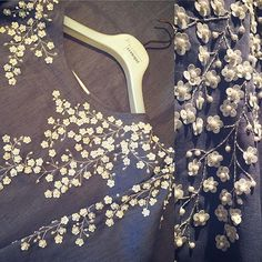 .. Ready to wear *Close up* Fabric : Lenin / pale blue Size : Free Price : 2000 AED #21techniquecasual #embroidery #handwork