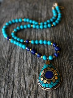 Lapis and Turquoise Statement Necklace, Nepalese Lapis Lazuli ...