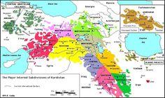 Kurdistan divisions map