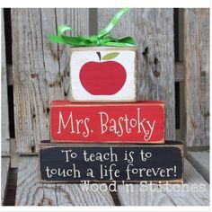 Personalized Teacher gift wood block set End of by jodyaleavitt