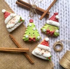 Happy Santa & Little Christmas trees Christmas Tree Cookies, Christmas Clay, Little Christmas Trees, Iced Cookies, Christmas Cupcakes, Christmas Goodies, Holiday Cookies, Christmas Treats, Christmas Baking