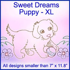 A Sweet Dreams Puppy Design Pack - XL design (X8128) from www.Emblibrary.com