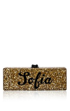 Bespoke Gold Confetti Flavia Clutch With Black Text by Edie Parker for Preorder on Moda Operandi