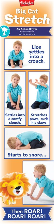 Big Cat Stretch Action Rhyme for Kids
