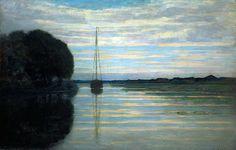 Piet Mondrian, 'River View with a Boat, Sun'  on ArtStack #piet-mondrian #art