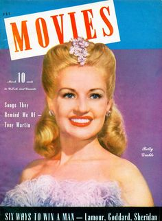 "Betty Grable on the cover of ""Movies"" magazine, USA, March 1942."