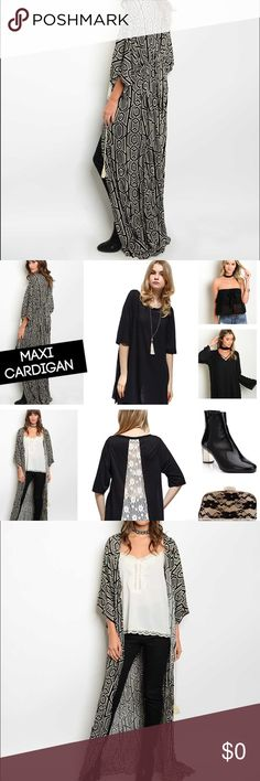 Black Maxi Cardigan Black pattern Maxi Cardigan... A real show stopper! Multiple ways to rock this Cardi! Jackets & Coats