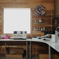 """What an inspiring work space! """"working on some projects this morning before the crazy hits! #bernina #designsbyhopeyoder"""""""