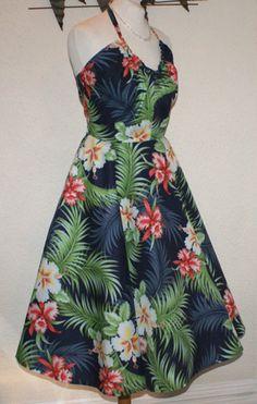 SALE Hawaiian full circle halter dress - Vintage 1950s inspired pinup – Di Brooks