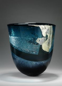White Gold Meerblau III  2010  vessel in blue, black and clear glass. Sandblast, glue chip texture with white gold leaf by Alison Mc Conachie 2010