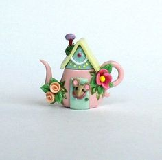Miniature Wee Mouse House Teapot OOAK by C. Rohal on Etsy. Absolute cuteness!!: