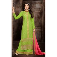 Eid Special Designer Green Georgette Palazzo Salwar Suit-58009(DDH-609)Karishma
