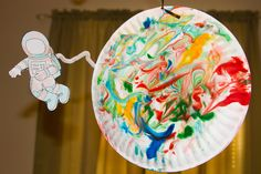 Planet, outer space, astronaut craft idea. Shaving cream painting.