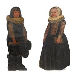 A pair of paint decorated dummy boards late 19th century