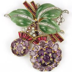 Trifari 'Alfred Philippe' Enamel Leaves Invisibly Set Rubies and Amethyst Fruits Pin Clip