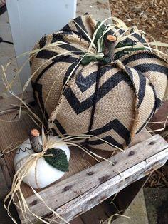 Burlap pumpkin white pumpkin shabby chic by thelittlegreenbean