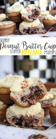 Skinny Peanut Butter Cup Stuffed Banana Muffins by Skinny Girl Standard, a low calorie food blog