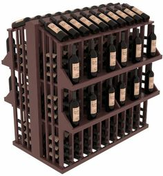 """Wooden 300 Bottle Single Reveal Aisle Wine Cellar Rack Storage Kit in Pine with Walnut Stain + Satin Finish by Wine Racks America®. $816.13. Standard 3 3/4"""" bottle cubicles:Fits most of the 750 ml bottles on the market. This includes the Oregon Pinot bottles, some Champagnes, and most of the uniquely shaped boutique vineyard bottles.. Easy-edge Bottle Holders:Measuring 11/16"""" x 11/16"""" x 12 5/16"""" long - thicker and longer than the competition and your wine bott..."""