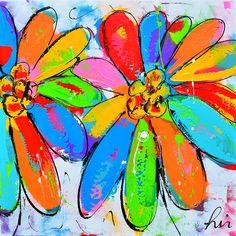 Dit is een: Acrylverf op doek, titel: 'Liz gekleurde bloemen' kunstwerk vervaardigd door: Liz