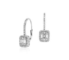 Baguette Diamond Leverback Earrings in 18k White Gold #BlueNile #MothersDay #jewelry