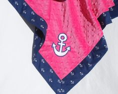 Brand New Item - Minky Baby Girl Blanket- Michael Miller Navy Blue Anchor's Away with Fuchsia Pink Minky and Applique Anchor. $40.00, via Etsy.