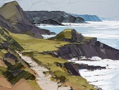 Wild Coast by Matthew Snowden Abstract Landscape Painting, Seascape Paintings, Watercolor Landscape, Landscape Art, Landscape Paintings, Oil Paintings, Knife Art, Guache, Painting Techniques