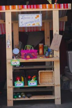Diy kids play market from wood shoe racks and 2x4s
