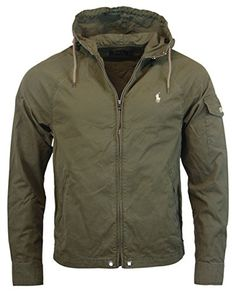 Polo Ralph Lauren Mens Nylon/Cotton Blend Hooded Windbreaker - M - Olive Green  Polo Ralph Lauren ++ You can get best price to buy this with big discount  ...