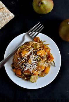 Caramelized Pear, Squash, Brussels Sprouts & Parmesan Noodles